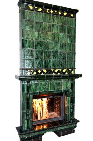 Изразцовый малахитовый камин