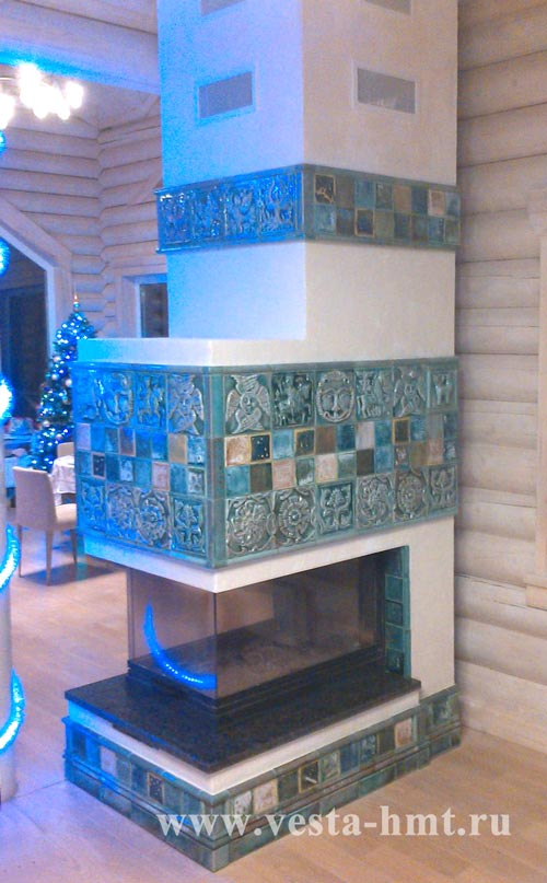 Fireplace in Russian tiles