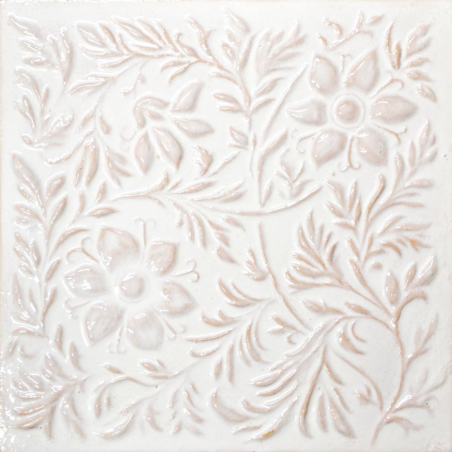 Изразец растительный белый 120008