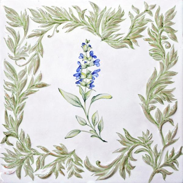 Изразец с шалфеем из коллекции растительной