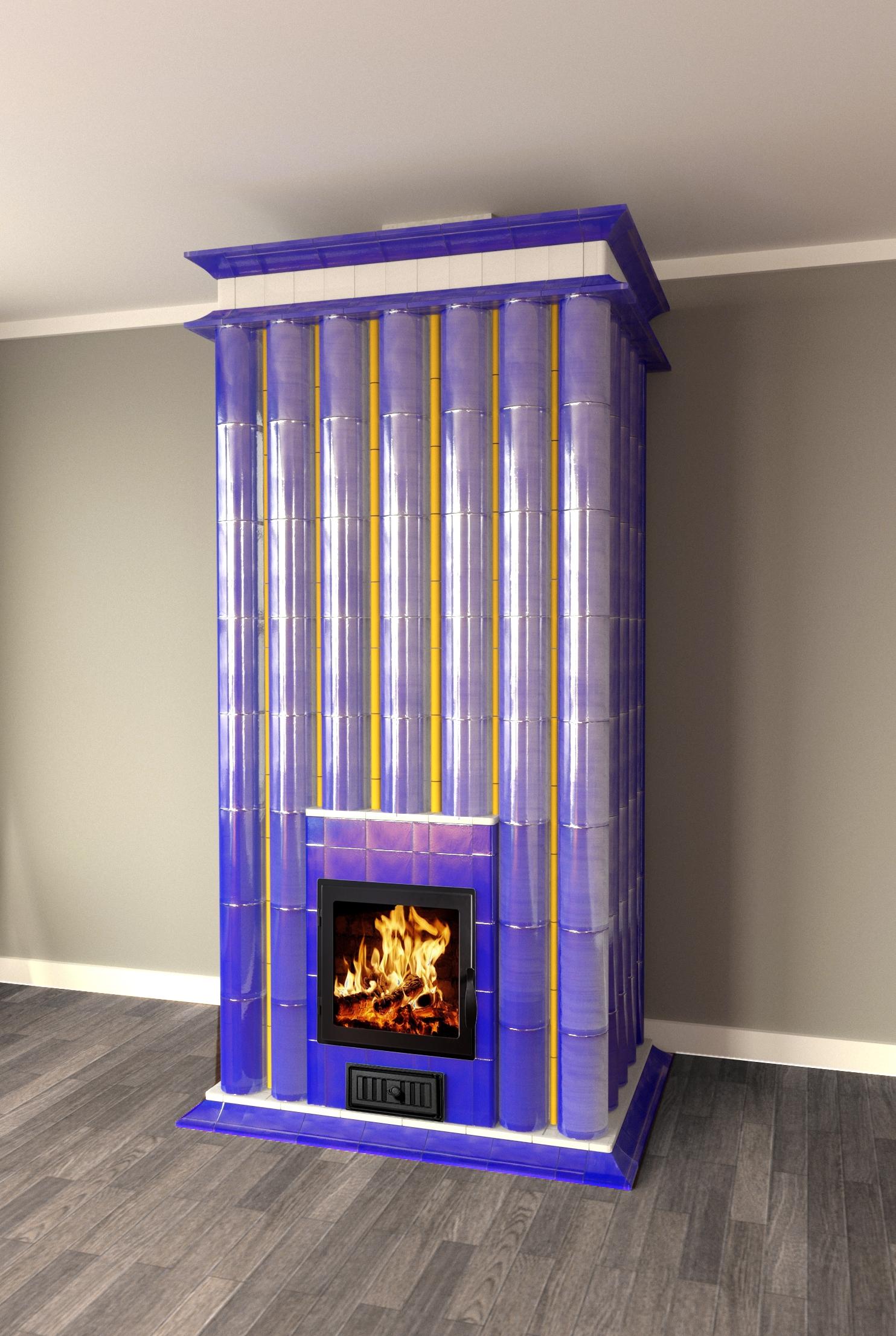 Изразцовая печь с колоннами