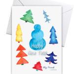 Новогодняя открытка с ёлочками