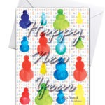 новогодняя открытка со снеговиками