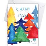 новогодняя открытка с ёлками