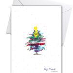 новогодняя открытка и ёлка