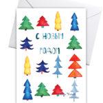 новогодняя открытка и 12 елочек