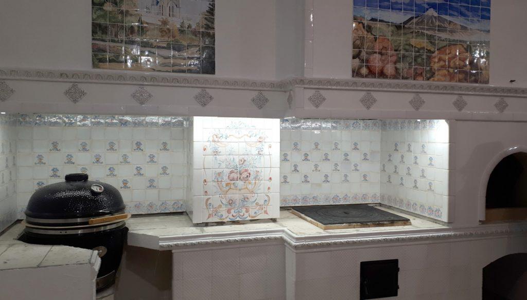Плитка с росписью для кухни и барбекю